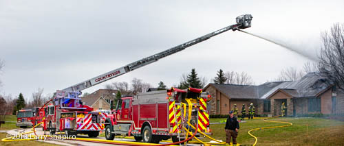 Rosenbauer America Raptor tower ladder at fire scene