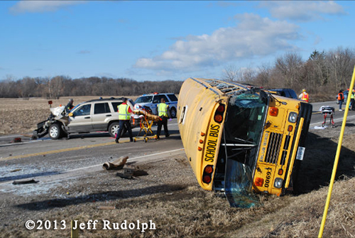 fatal crash with a school bus in Newport Township IL