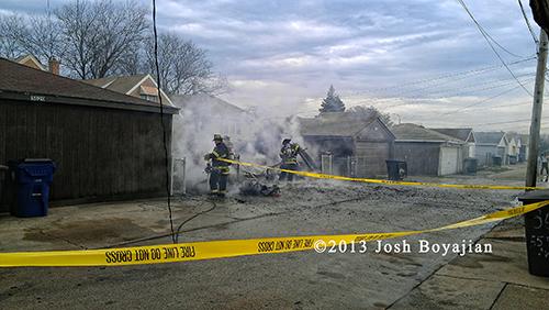 alley garage fire in Cicero