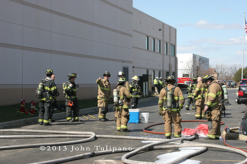 firefighters at scene of factory fire in Glendale Heights
