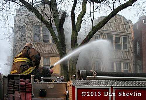 fireman and deck gun at fire