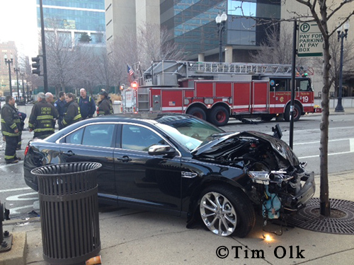 car crashes into Chicago fire truck