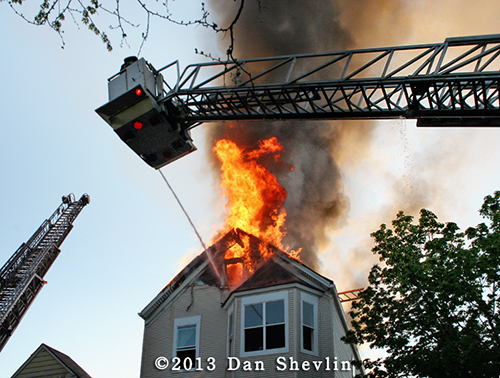 tower ladder works at heavy fire