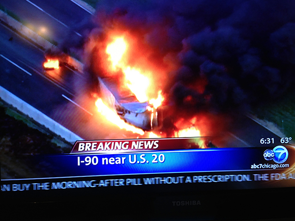 truck fire on Jane Addams highway in Chicago area