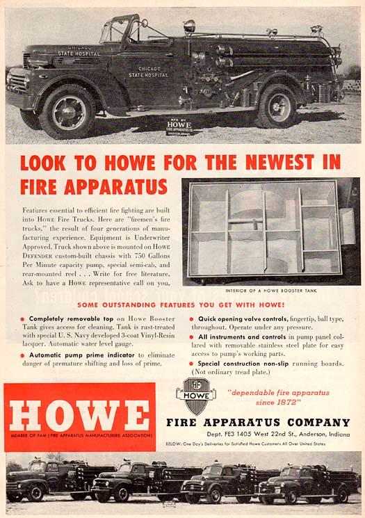 Howe Fire Apparatus Company magazine ad