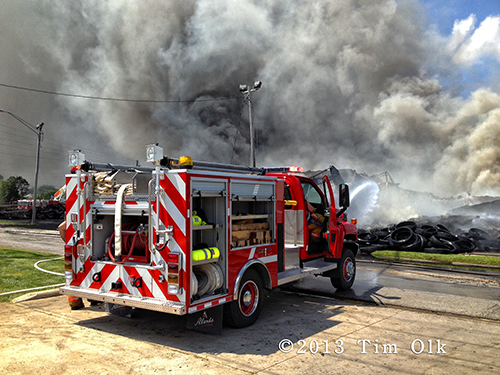 large tire fire in Hoopeston IL