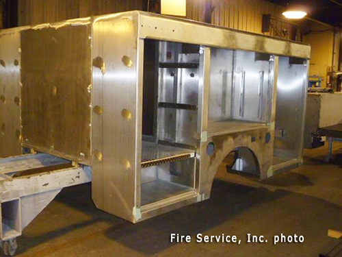 fire truck body being built