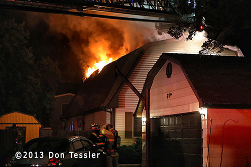 Carol Stream Fire Department house fire at night
