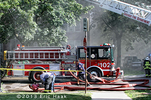Chicago FIre Department Engine 102 at fier scene