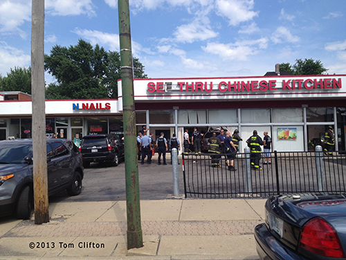 car into building on Chicago's south side