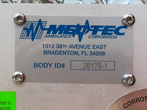 Medtec production plate for ambulance