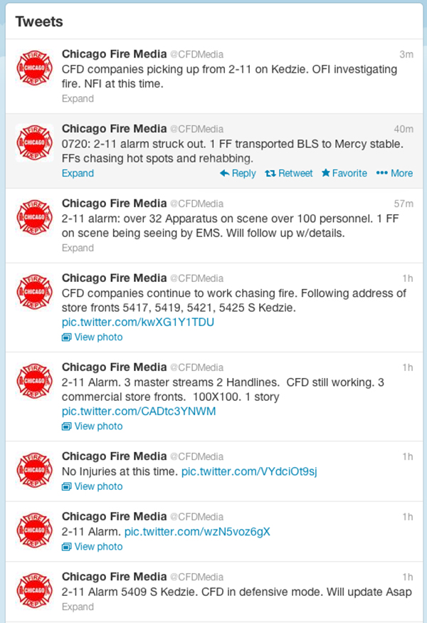 Chicago Fire Department media affairs twitter