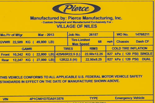 Pierce Manufacturing law tag