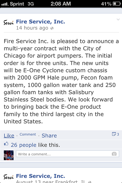 new E-ONE fire engines for O'Hare Airport