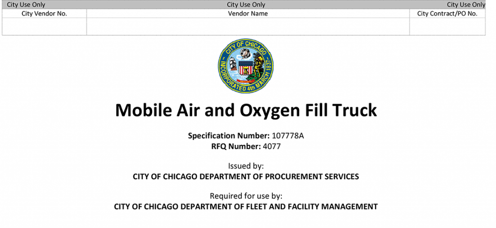 Chicago Fire Department procurement of new vehicle