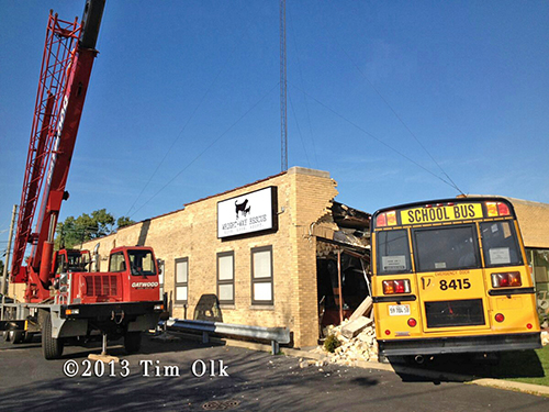 school bus crashes into Niles building