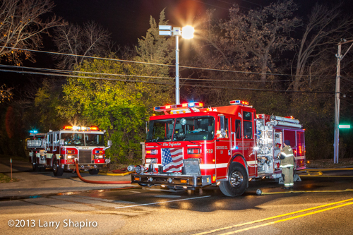 Pierce fire engine at night fire scene