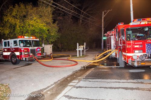 Pierce fire engine at night fire scene