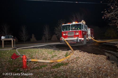 Seagrave fire engine at night fire scene