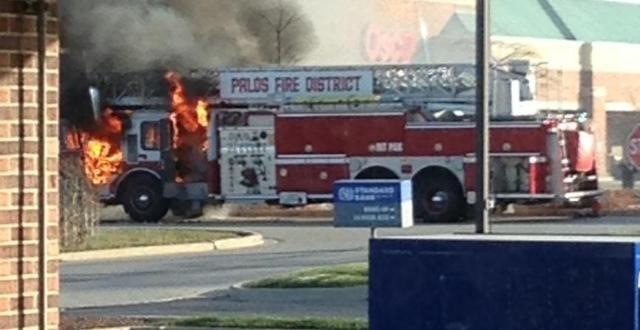 Palos FPD fire truck catches fire