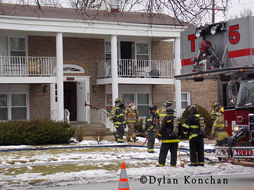 Firemen at apartment fire in Matteson IL