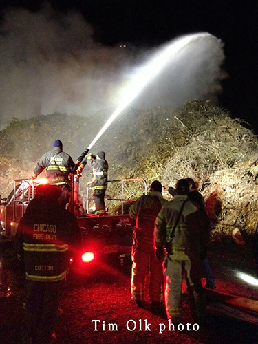 large mulch pile burns in McCook