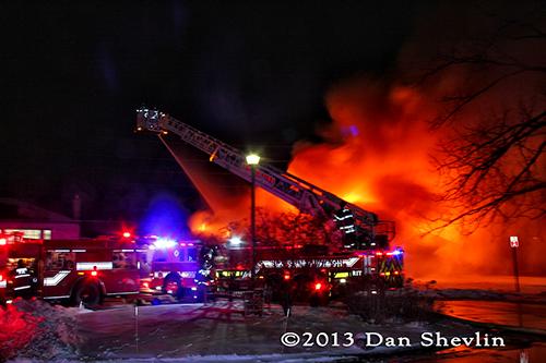 Skokie Fire Department battles cold night fire