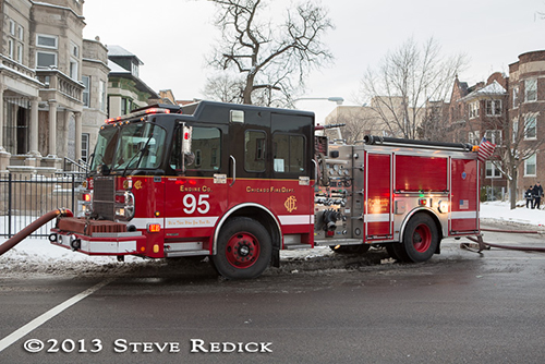 Chicago fire engine at winter fire scene