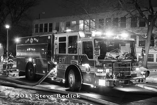 Skokie Fire Department battles cold night fire