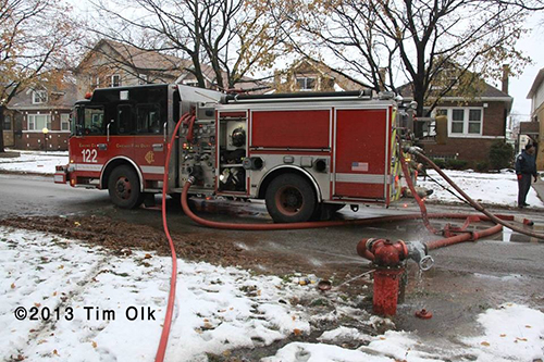 Chicago Fire Engine hooked to hydrant