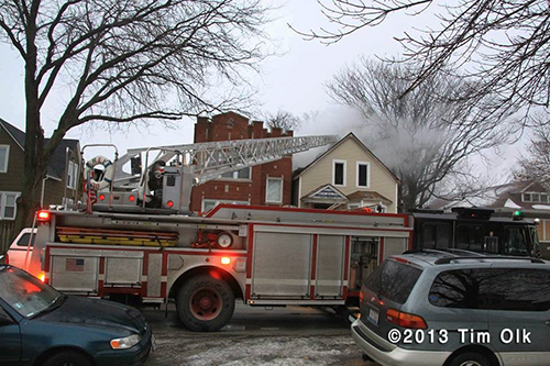 Chicago firemen at fire scene