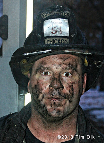 Chicago fireman with dirty face