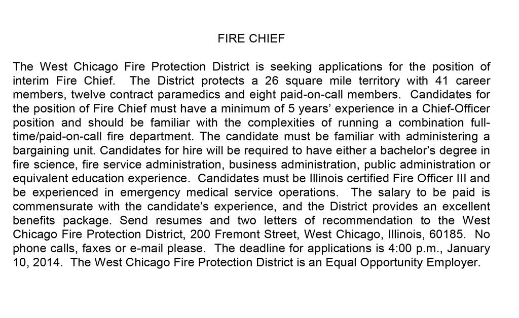 West Chicago FPD seeking interim fire chief