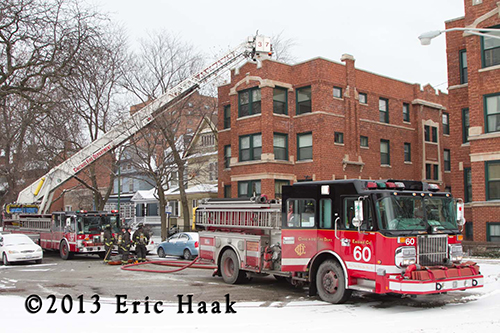 Chicago fire trucks at winter fire scene