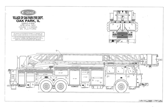 drawing of new fire truck for Oak Park IL