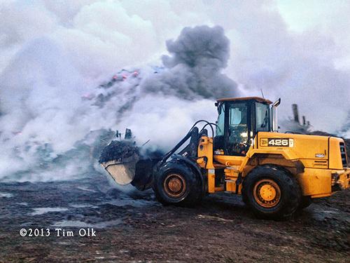 large mulch pile burns in McCook