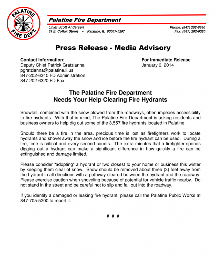 Palatine Fire Department needs help digging out fire hydrants