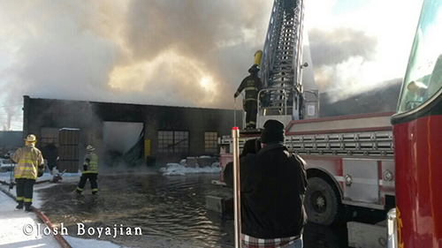 Chicago firemen battle frigid 3-11 alarm warehouse fire 1-3-14