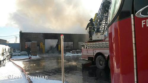 Chicago firemen battle frigid 3-11 alarm warehouse fire 1-3-14