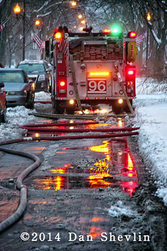 Chicago firemen fight winter house fire