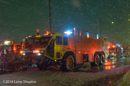 Chicago ARFF at fire scene in the snow