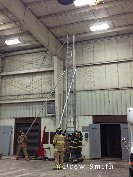 firemen train with Bangor ladder