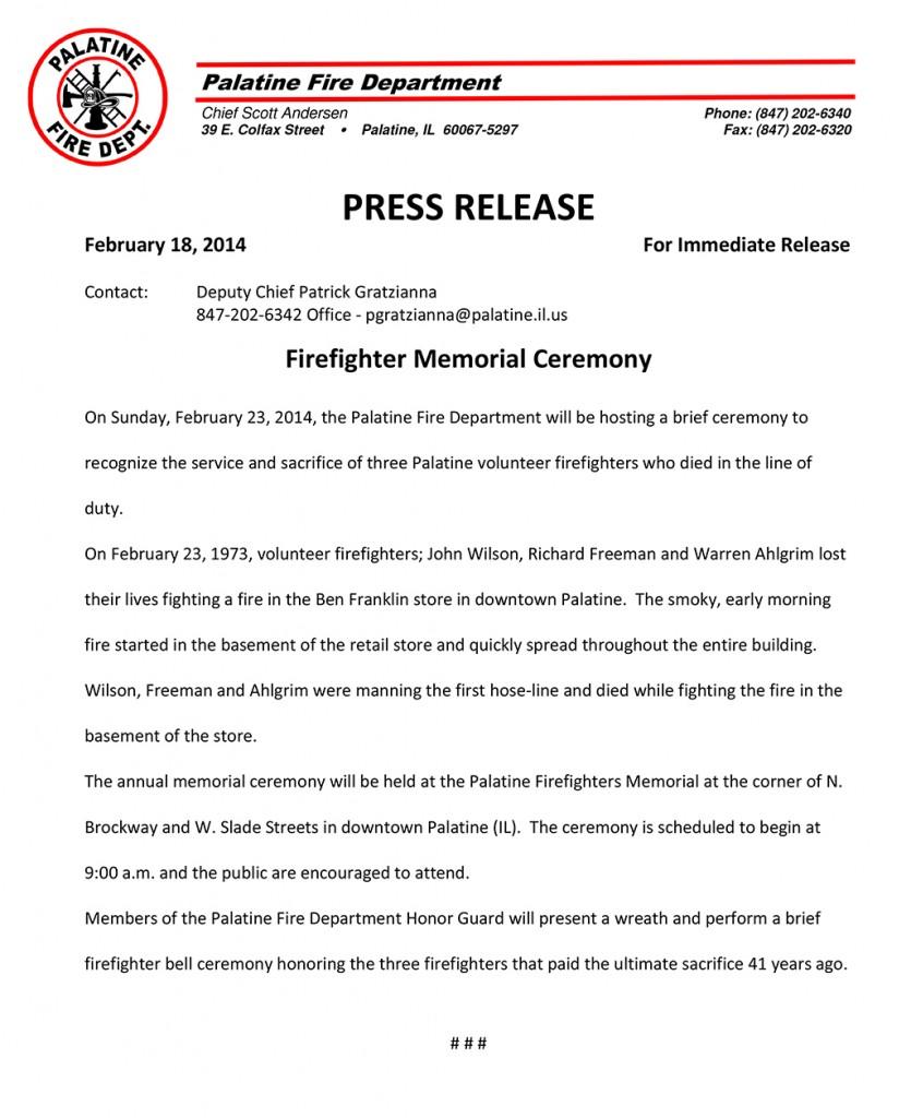 FF Memorial Press Release