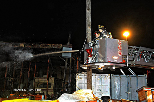 tower ladder at fire scene