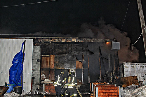 aftermath of large garage fire