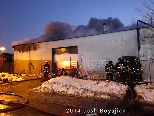 fire scene at dusk