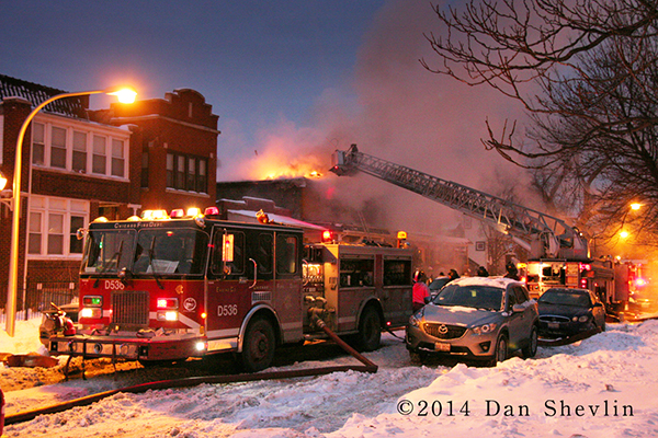 winter fire scene photo from Chicago