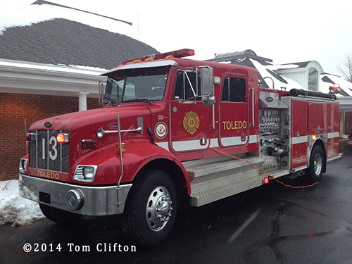 Toledo fire engine at funeral home