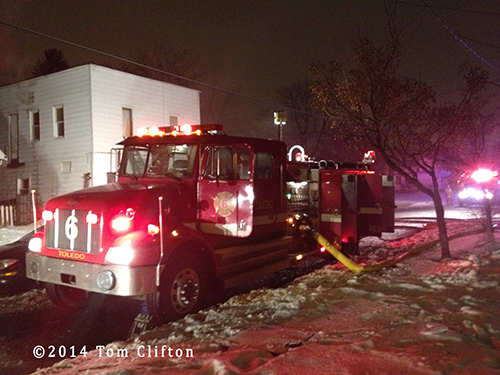 Toledo fire engine at fire scene