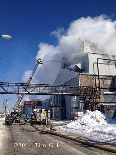winter fire at industrial building